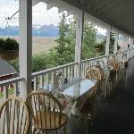 Dining on the veranda overlooking Kennicott's main street