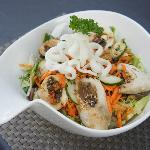 Stuffed chicken with summer noodle salad