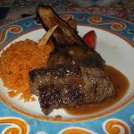 In the mexican, steak and rice.