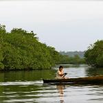 Traveling by canoe to Red Frog Beach