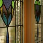 Stained glass windows in the dining area