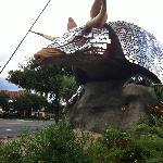 Giant metal armadillo outside the restaurant.