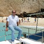 Panos on the boat at the Shipwreck beach