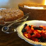 warm coffee cake and fresh berries
