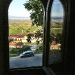 A view from our room across the vineyards toward Elciego.