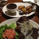 vaca frita, black beans, and sweet plantains