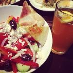 Greek salad and blue moon