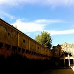 View of the end of the Vasari corridor from Pitti Palace gardens