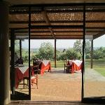 Looking out from the dining area onto the terrace.