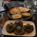Scallops and marinated mushrooms at Panacea