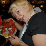 Nicole thrilled with her lobster