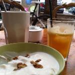 latte, orange juice and yoghurt