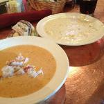 Crab Bisque and Clam Chowder on the Copper Bar