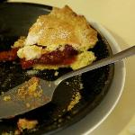 Rhubarb tart - generous filling, light pastry. Only one slice left!