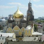 View from our balcony of beautiful onion domes on church.
