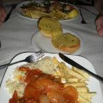 Veal stifado, garlic bread and chicken saginaki.