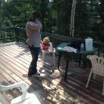 grandma and Lena spending some time out in the deck of the Jack Pine cabin