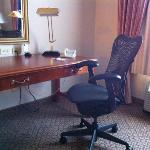 Desk and chair in standard king room