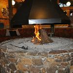 Sunken pit fire lounge in reception