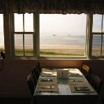 view of dining room with ocean