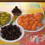 Kicking Moose cabin: summer fruit from roadside stands