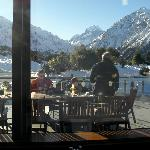 Lunch at The Hermitage, looking at Mt Cook
