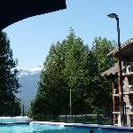 Swimming pool and mountain view.