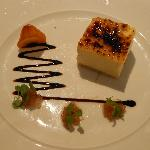 Star anise creme brulee with liquorice poached pear