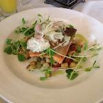 trout with celeriac hash and fennel slaw