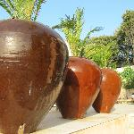 Pots on way up to pool