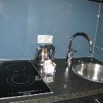 kitchen sink and stove area