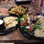 chicken with rice with an extra side of tzatziki. the fries are great too!