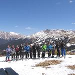 Our group of skiers from Scotland outside the top cabin at Loveland