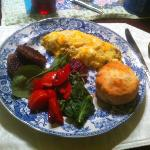 breakfast was fantastic and hearty. not shown are homemade biscotti and breads.