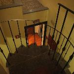 The spiral staircase to 104. Stroller often sat at bottom-little tricky with luggage
