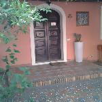 Courtyard with lemon trees and roses bushes all around