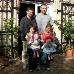 Pascal and his family at the entrance