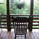 Rocking chair on balcony off dining room