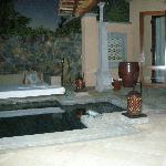 Plunge pool at the villa in the evening