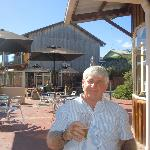 AW (Tony) Scott enjoying a cold beer at Coles Bay