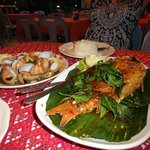 Fish, clams, seafood tom yam and a couple of beers = 750 baht(dinner for 2)