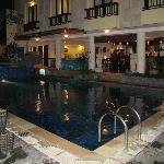 pool area, restaurant/ bar area behind