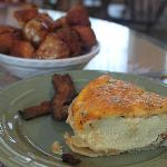 Yum!! Monkey bread, pepper bacon and jalapeno quiche!