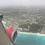 A view of Turtle Beach as our flight comes in to land