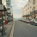 view of street to seafront from front of b&B