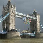 The Tower Bridge with the Olympic sign