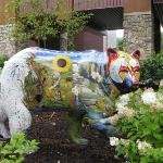 painted bear in the garden