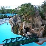 View of the grotto pool from our 4th story poolside room