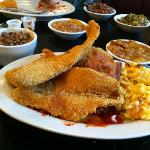 Catfish, blackeye peas, mac & cheese, peach cobbler