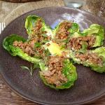 Minced pork with lemongrass on lettuce leaf wraps